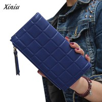 Leather Square Double Zipper Card Holder Wallet