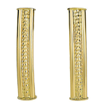 14k Yellow Gold Diamond Cut Curved Tube Rectangular Bar Climber Style Earrings