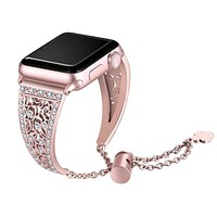 Women Diamond Band For Apple Watch Stainless Steel Strap for iWatch