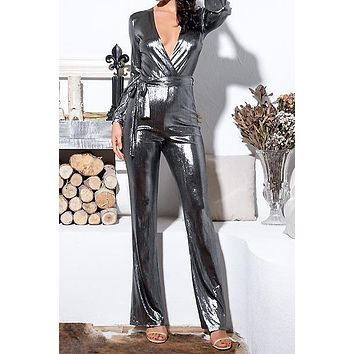 Angie Silver Glittery Jumpsuit(Ready to ship)