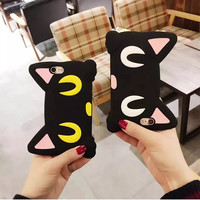 Soft Case For iPhone Case 3D Cute Cat Cover For iPhone 6 6S 6 Plus 7 7 Plu Sailor Moon Silicone Phone Case