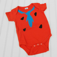 Great Halloween costume or Baby Shower Gift Fred Flintstone Onesuit - Orange 100% cotton sewn applique for boys or girls READY TO SHIP