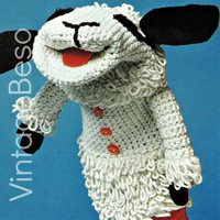 1975 Lamb Chop Knitting Pattern Version AND Crochet Pattern Version Hand Puppets Vintage Beso PDF 2015 Year of the Sheep Toy Patons 1239