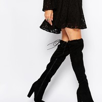 Boohoo Suede Over The Knee Heeled Boots