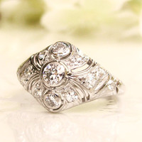 Antique Engagement Ring Old European Cut Diamond Platinum Art Deco Engagement Ring Antique Diamond Wedding Ring 0.71ctw Diamond Dome Ring!