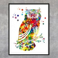 Owl watercolor Print, Animals Poster, birds Illustration, Owls art, Home Decor, Wall decor, Wall Art, Giclee Print, Vertical poster [NO 148]