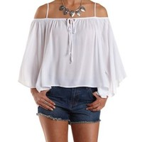 White Tie-Neck Cold Shoulder Top by Charlotte Russe