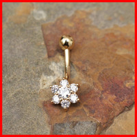 14k Gold Ring 14g Navel Ring Flower Shaped Multi Gems Solid Gold Belly Button Ring Navel Piercing Belly Button Piercing Navel Jewelry Bling