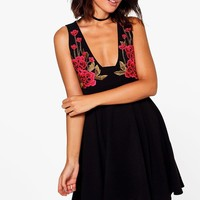 Mabel Floral Embroidered Skater Dress | Boohoo