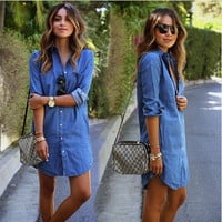Winter Hot Sale Irregular Denim Skirt One Piece Dress [6338962113]