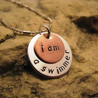 i am a swimmer - silver and copper charm