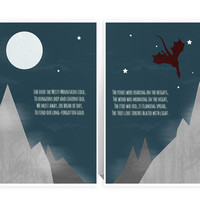The Hobbit - Dwarf Dwarven Song PAIR - Far Over the Misty Mountains Cold -MANY SIZES -Thorin Oakenshield Lord of the Rings Typography Print