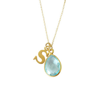 Lowercase Initial & Birthstone Necklace