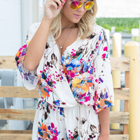 Day Dreaming Floral Romper - Ivory Multi