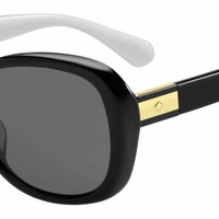 Kate Spade - Judyann P S Black Ivory Sunglasses / Gray Polarized Lenses