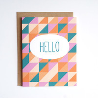 Note Card - Hello Note Card - Triangles Card - Geometric Card - Blank Greeting Card - Hello