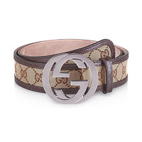 GUCCI - Leather Belt for Men DOUBLE G (114876F40IR9643)