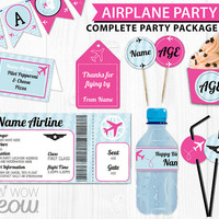 Pink Girls AIRPLANE Birthday Party Package Invitations & Decorations Full Printable Collection INSTANT DOWNLOAD Editable Personalize @Home