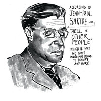Jean-Paul Sartre poster print Existentialist Philosopher and Writer