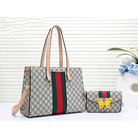 Gucci Trending Women Leather Butterfly Tote Handbag Zipper Shoulder Bag Set Two Piece Apricot I-RF-PJ