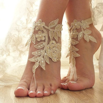 Champagne, gold french lace sandals, wedding anklet, Beach wedding barefoot sandals,