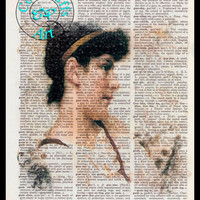The Siesta 1895 Lady Pencil Drawing Beautifully Upcycled Vintage Dictionary Page Book Art Print
