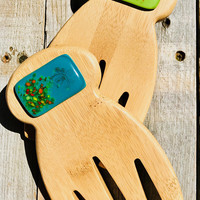 Teal and Lime Mangia Bamboo and Glass Salad Tongs