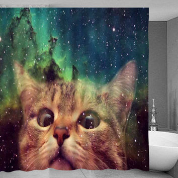 Galaxy Cat Shower Curtains