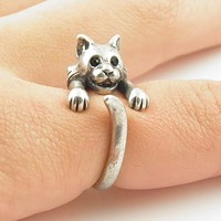 Animal Wrap Ring - Bobcat - White Bronze - Adjustable Ring - keja jewelry
