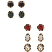 FOREVER 21 Faux Stone Earring Set Black/Green One
