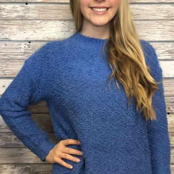 Better With You Sweater Top- Blue