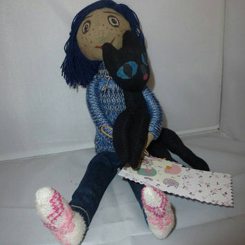 """Hand made doll """"Coraline"""" to the cat. The heroine of the animated film """"Coraline"""""""