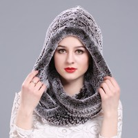 Female Winter Thick Warm Knit Hat hot sale hRussian Warm Beanies  Women's Fur  with a hood Rex rabbit fur scarf hat