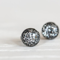 Black and Silver Sparkle Post Earrings