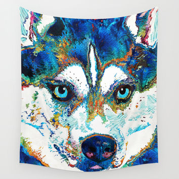 Colorful Husky Dog Art by Sharon Cummings Wall Tapestry by Sharon Cummings