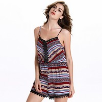 Fashion Backless Multicolor Print Lace Stitching Strap Sleeveless Romper Jumpsuit Shorts