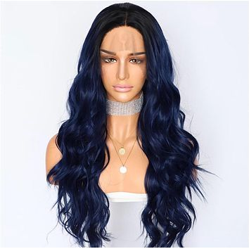 Eva- Loose Wavy Dark Roots Navy Blue Front Lace Wig