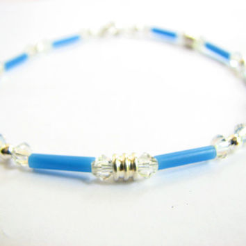 Delicate Blue Ankle Bracelet for Women - Vintage Venetian Glass Beads in Cornflower Blue, Bridal Jewelry