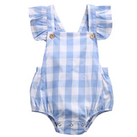 Baby Clothing 2017 Summer Blue Plaid Ruffles Romper Newborn Baby Girl Romper Clothes Sleeveless Infant Product