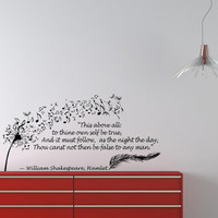 Housewares Wall Vinyl Decal Quote Shakespeare Hamlet Dandelion Feather Musical Notes Sticker V59