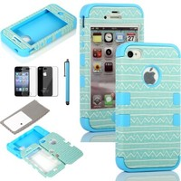 ATC Masione(TM) 3in1 Hybrid High Impact Hard Aztec Tribal Pattern with Pink Silicone Case Cover for iphone 4 iPhone 4S +Screen Protector+Stylus (Light Blue Aztec Tribal Pattern)