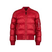 Alpha Industries Men's MA-1 Echo Bomber Flight Jacket Commander Red