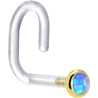 "18 Gauge 1/4"" Yellow Gold 2mm Blue Synthetic Opal Bioplast Nose Ring 