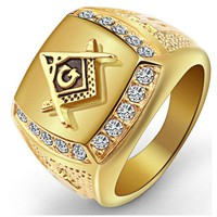 316L Stainless Steel Cool Gold Color Freemason Ring Men Hip Hop Iced Out Bling Crystal Masonic Rings Fashion Jewelry