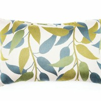"""Set of 2 blue and green leaf print 14"""" x 22"""" throw pillows . Made in the USA with Brooks fabrics and measures 14"""" x 22""""."""
