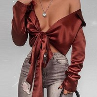 Dark Brown Satin Look Lapel Plunge Tie Front Long Sleeve Crop Top