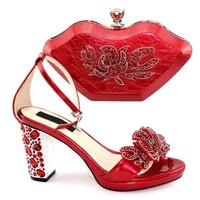 Latest style elegant ladies' shoes with set of high-heeled Italian rhinestone shoes set bag and set of bags for night party TX-260