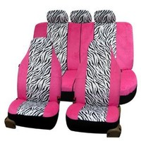 FH-FB121115 Zebra Prints Car Seat Covers, Airbag ready and Split Bench, Pink / White color : Amazon.com : Automotive