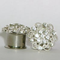 Crystal Cluster Plugs 1/2 9/16 5/8 Inch 13mm 14mm 16mm