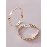 1pair Hollow Out Hoop Earrings